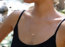 wedding photo - 14K Gold, Horizontal Gold Bar Necklace, Thin Gold Bar, Simple Gold Necklace, Modern Necklace, Straight Line