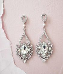 wedding photo - Bridal Chandelier Earrings Art Deco Wedding Jewelry Crystal Bridal Earrings Old Hollywood Great Gatsby Earrings Rhinestone Drop Pearl ADIE