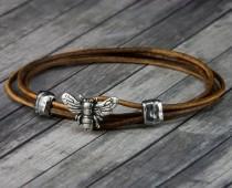 wedding photo - Bee Leather Bracelet - Leather Wrap Bracelet - Womens Leather Bracelet - Mens Leather Bracelet - Bee Jewelry - Leather Bracelet - Honey Bee