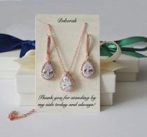 wedding photo - Rose gold Bridal gift set, Tear drop CZ hook earrings necklace set, Bridesmaids gift, bridesmaids set, Bridal party gift, pear drop earring