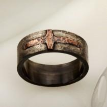 wedding photo - Unique Men's Wedding Band, Men ring, Men wedding ring, Rustic Silver Copper Men's Ring, Casual ring, Gift for him, RS-1205
