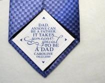wedding photo - Step Dad Tie Patch • Anyone Can be a Father It Takes Someone Special to be a Dad • Suit Label • Personalized Gift • Father's Day • Fabric