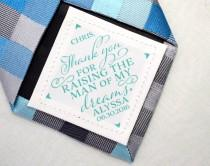 wedding photo - Father-in-law Tie Patch • Wedding Day Accessories • Thank you for raising the man of my dreams • Suit Label • Personalized Gift • FIL