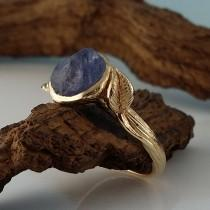 wedding photo - Blue Sapphire Engagement Ring, Yellow Gold Sapphire Engagement Ring, One-of-a-kind Leaf & Twig Engagement Ring hand sculpted by Dawn