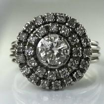 wedding photo - Vintage Diamond Cluster Ring. Platinum Sunburst Setting. Unique Engagement Ring. April Birthstone. 10 Year Anniversary. Estate Jewelry.