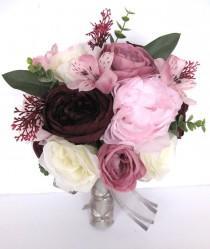"wedding photo - Pink wedding bouquet, Mauve bouquet, Wedding bouquets, Bridal bouquet, PINK MAUVE EGGPLANT, Wedding flowers, 17 piece set ""RosesandDreams"""