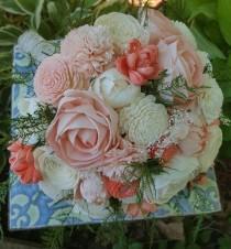 wedding photo - Sola wood bouquet,  dried flower bouquet,  sola flower,  wooden flower,  wood bouquet, eco-friendly flower,  preserved bouquet,  evergreen
