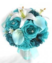 "wedding photo - Wedding Bouquet 17 Piece Package Bridal Silk flower Bouquets TURQUOISE AQUA TEAL Calla Lily Wedding decoration Centerpiece ""RosesandDreams"""