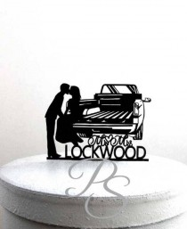 wedding photo - Personalized Wedding Cake Topper - Pick up Truck Tailgate Kiss wedding with your last name and wedding date