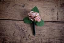 wedding photo - Blush Pink Rose Boutonniere - Silk Wedding Boutonniere