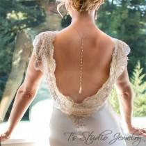 wedding photo - AMELIA Pearl Back Drop Gold (or Silver) Bridal Necklace And Earrings