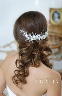 wedding photo - OLYMPIA Ivory Crystal And Flower Wedding Hair Comb Accessories