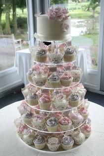 wedding photo - Lilac And Pink Cupcake Tower