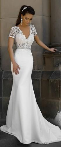 wedding photo - Junoesque Lace & Satin V-neck Neckline Mermaid Wedding Dresses With Bowknot