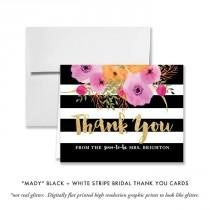 "wedding photo - ""Mady"" Black   White Stripe Bridal Thank You Card"