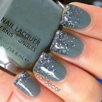 wedding photo - 40 Grey Nail Styles With Glitter You Will Fall In Love With