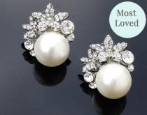 wedding photo - Vintage Style Pearl & Crystal Stud Earrings, Carrie