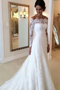 wedding photo - Long Sleeves Lace A-line Boat Neckline Ivory Long Bridal Dress Wedding Dresses W33