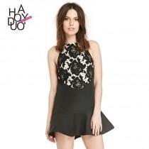 wedding photo - Vogue Simple Split Front Hollow Out Crochet Frilled Summer Dress - Bonny YZOZO Boutique Store