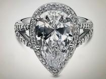 wedding photo - A Perfect 7CT Pear Cut Russian Lab Diamond Split Shank Engagement Ring