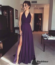 wedding photo - Simple V-Neck Long Prom Dress Purple Evening Dress With High Slit,HS423