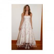 wedding photo - David's Bridal - Spring 2014 - Blush Strapless A-Line Wedding Dress with Asymmetrical Hemline - Stunning Cheap Wedding Dresses