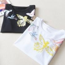 wedding photo - Must-have Fresh Printed Scoop Neck Bird Black & White Short Sleeves Top T-shirt - Lafannie Fashion Shop
