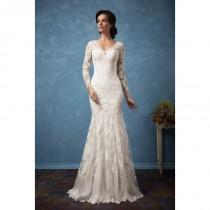 wedding photo - Amelia Sposa 2017 Carolina Fit & Flare V-Neck Long Sleeves Vintage Ivory Chapel Train Lace Appliques Winter Wedding Gown - Brand Wedding Dresses