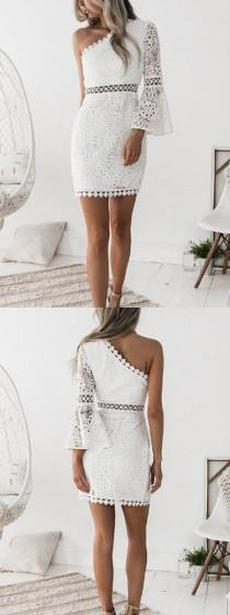 wedding photo - White One Shoulder Cut Out Detail Flare Sleeve Lace Mini Dress
