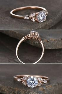 wedding photo - Sterling Silver Ring/Round Cut Cubic Zirconia Engagement Ring/CZ Wedding Ring/Three Flower Marquise/promise Ring/Xmas Gift/Rose Gold Plated