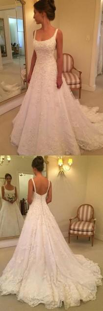 wedding photo - A-line Scoop Sweep Train Sleeveless Wedding Dress With Appliques WD218