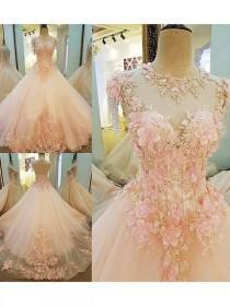 wedding photo - 2018 Ball Gown Wedding Dress Brush Train Pink Cheap Wedding Dress # VB1106