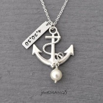 wedding photo - Personalized Anchor Necklace, Wedding, Keepsake Necklace, Turquoise,special Day, Anniversary, Wedding Date, Engagement, Nautical, Birthstone