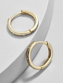 wedding photo - Oro 18K Gold Plated Huggie Hoop Earrings