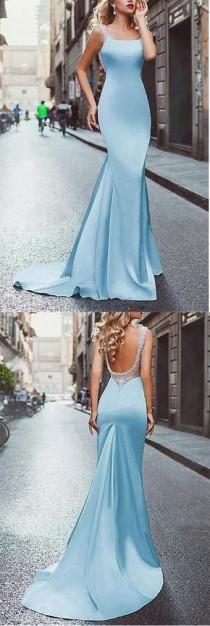 wedding photo - Amazing Beading Satin Scoop Mermaid Blue Long Prom Dress OK696