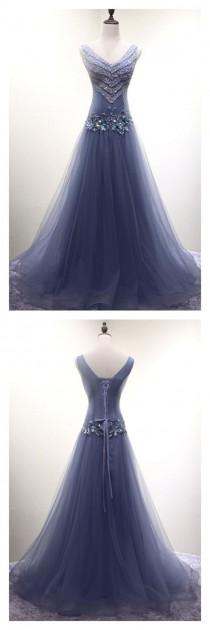 wedding photo - V-neck Beading Long Tulle Prom Dresses(ED2387)
