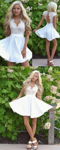 wedding photo - White Homecoming Dresses, Short Homecoming Dresses, Sexy Cap Sleeves White Lace A Line Short Homecoming Dress With Open Back WF01-33