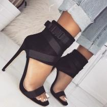 wedding photo - Spandex Buckle Stiletto Heels In Black, Red, And White