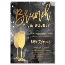 "wedding photo - ""Katia"" Black Tie Dye Brunch   Bubbly Bridal Shower Invitation"