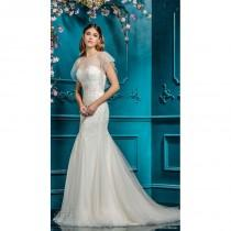 wedding photo - Ellis Bridal 2018 Style 18083 Sweet Chapel Train Ivory Illusion Mermaid Butterfly Sleeves Beading Tulle Bridal Dress - Bonny Evening Dresses Online