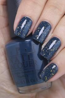 wedding photo - Navy-Teal With Gold Flakie Top Coat (grape Fizz Nails)