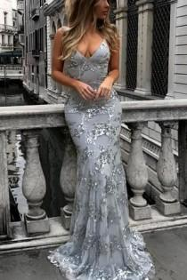 wedding photo - Affordable Tulle Lace Sexy V-neck Mermaid Long Prom Dresses, M109