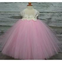 wedding photo - Free Shipping  to USA Custom Made Cap Sleeve Ivory  and  Pink Tutu Dress-Pink Flower Girls Available in Sizes NB- 14 years old - Hand-made Beautiful Dresses
