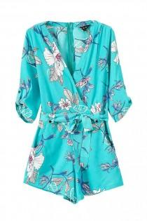 "wedding photo - ""Guardian Angel"" Floral Turquoise Onepiece Romper Playsuit"