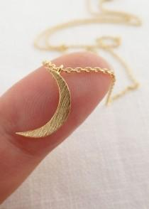 wedding photo - Tiny Gold, Silver Or Rose Gold Crescent Moon Necklace.... Dainty And Delicate, Birthday, Wedding, Bridesmaid Gift