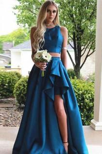 wedding photo - Discount Delightful Long Prom Dresses Two Pieces A-line Blue Sleeveless Slit Long Prom Dress,Woman Evening Dress