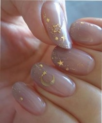 wedding photo - New Fantastic Cresent And Stars Party Nail Art Designs