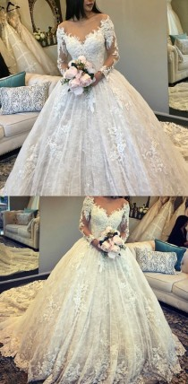 wedding photo - Vintage Long Sleeves Lace Ball Gown Wedding Dresses Illusion Neckline