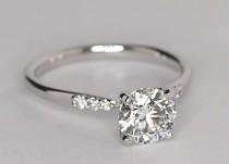 wedding photo - Petite Diamond Engagement Ring In 14k White Gold (1/10 Ct. Tw.)