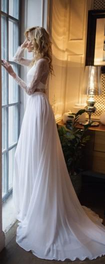 wedding photo - Bridal Separates Top Long Sleeve, Tillie Lace Crop With Chiffon Skirt